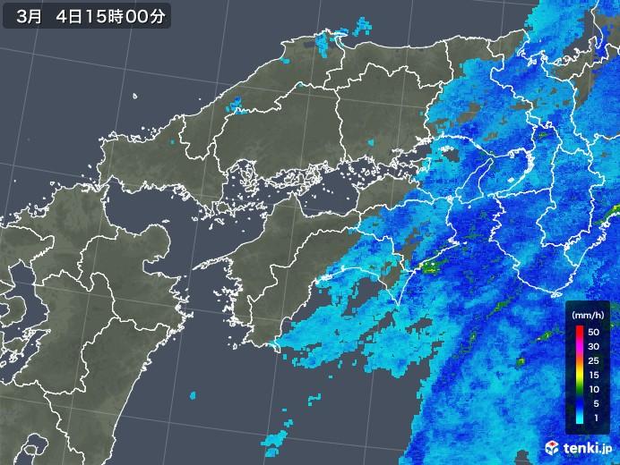 四国地方の雨雲レーダー(2020年03月04日)