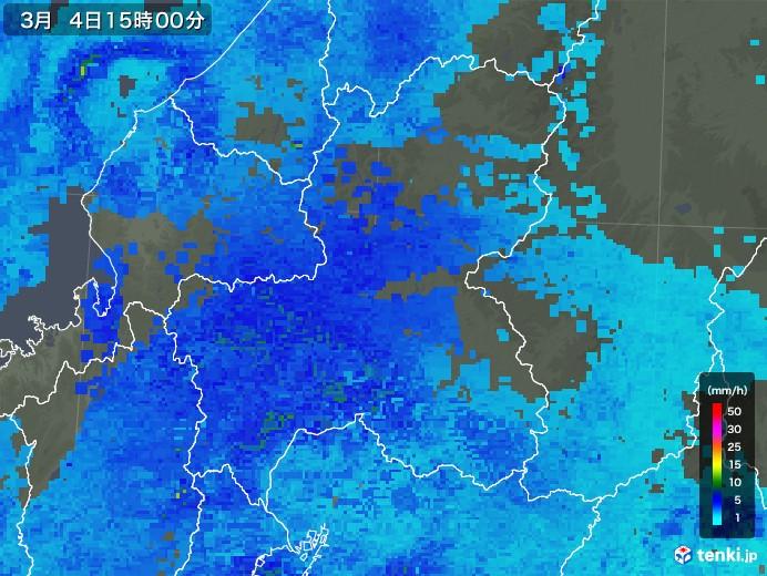 岐阜県の雨雲レーダー(2020年03月04日)