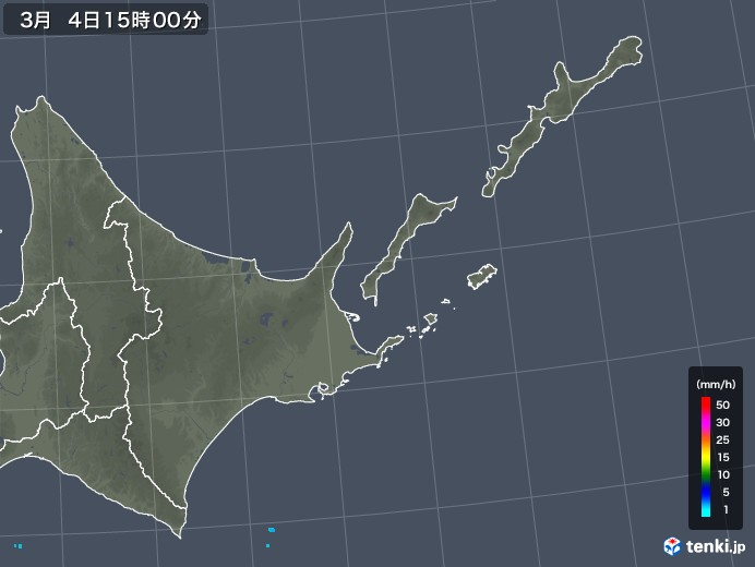 道東の雨雲レーダー(2020年03月04日)