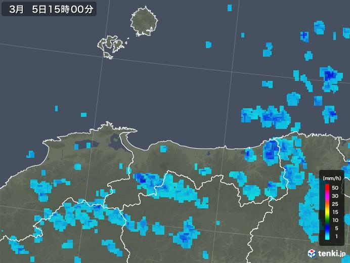 鳥取県の雨雲レーダー(2020年03月05日)