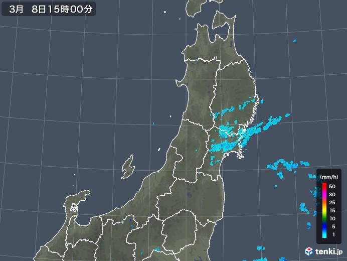 東北地方の雨雲レーダー(2020年03月08日)