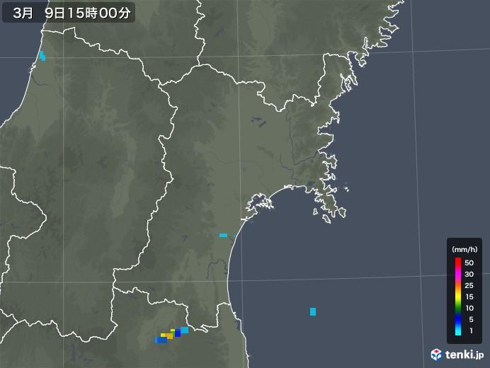 宮城県の雨雲レーダー(2020年03月09日)