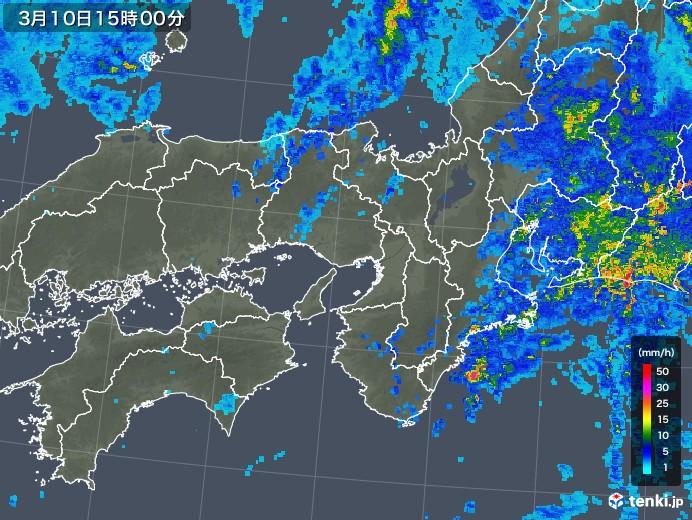 近畿地方の雨雲レーダー(2020年03月10日)