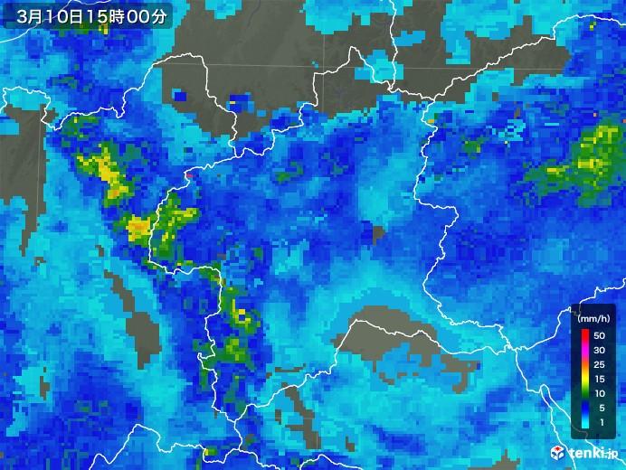 群馬県の雨雲レーダー(2020年03月10日)