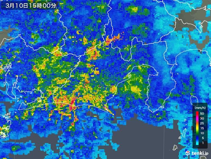 静岡県の雨雲レーダー(2020年03月10日)