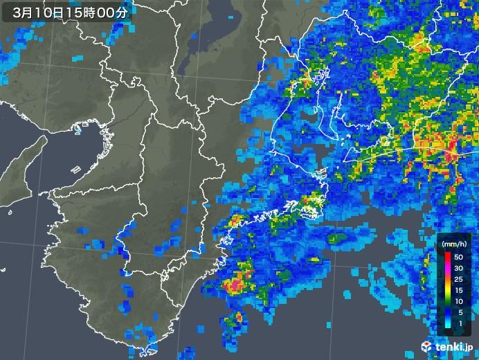 三重県の雨雲レーダー(2020年03月10日)