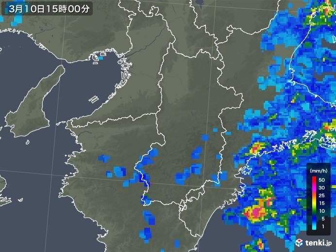奈良県の雨雲レーダー(2020年03月10日)