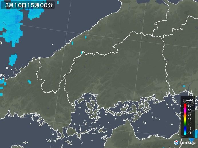 広島県の雨雲レーダー(2020年03月10日)