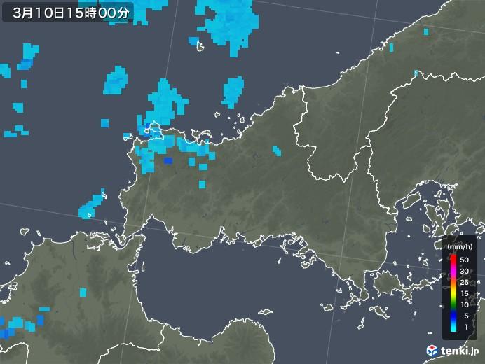 山口県の雨雲レーダー(2020年03月10日)