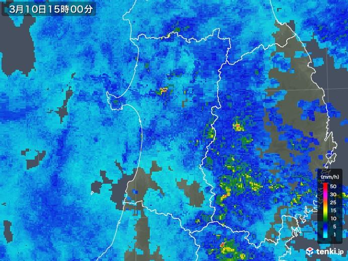 秋田県の雨雲レーダー(2020年03月10日)
