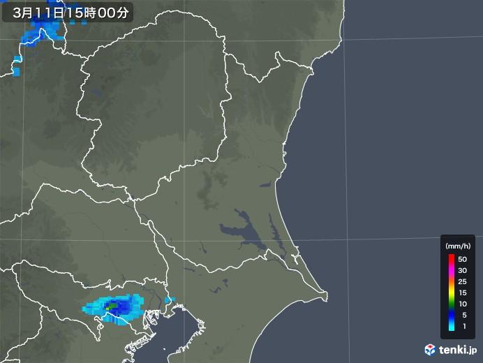 茨城県の雨雲レーダー(2020年03月11日)