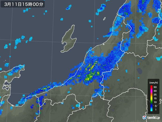 新潟県の雨雲レーダー(2020年03月11日)
