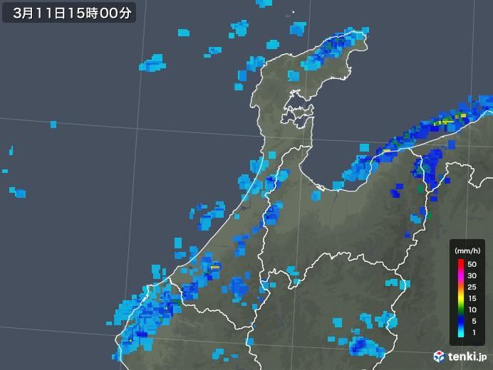 石川県の雨雲レーダー(2020年03月11日)