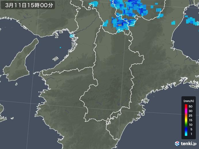 奈良県の雨雲レーダー(2020年03月11日)