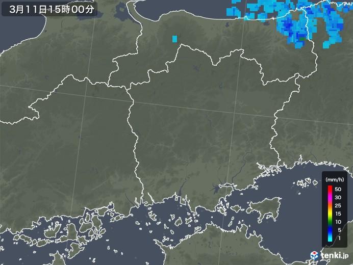 岡山県の雨雲レーダー(2020年03月11日)