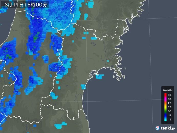 宮城県の雨雲レーダー(2020年03月11日)