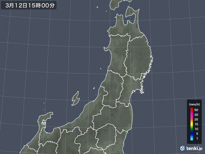 東北地方の雨雲レーダー(2020年03月12日)