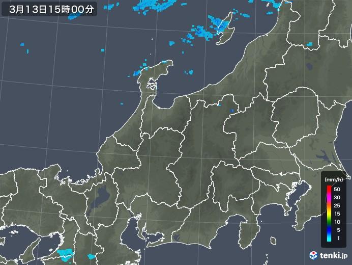 北陸地方の雨雲レーダー(2020年03月13日)