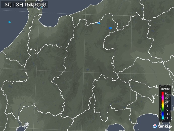 長野県の雨雲レーダー(2020年03月13日)