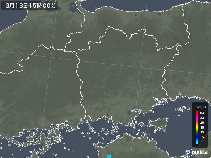 岡山県の雨雲レーダー(2020年03月13日)