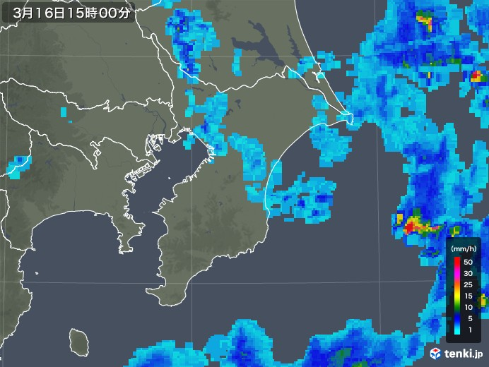 千葉県の雨雲レーダー(2020年03月16日)