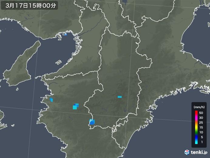 奈良県の雨雲レーダー(2020年03月17日)