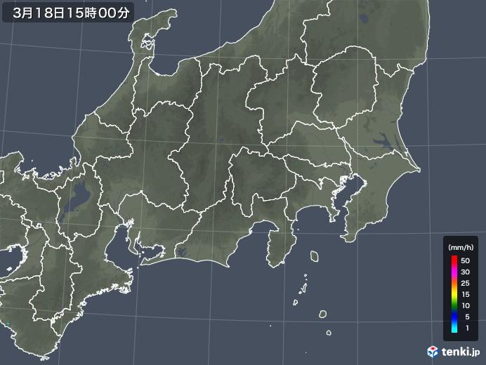 関東・甲信地方の雨雲レーダー(2020年03月18日)