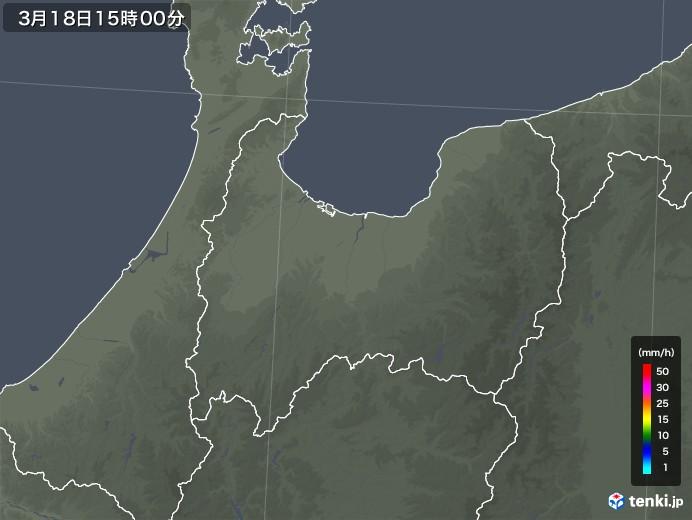富山県の雨雲レーダー(2020年03月18日)