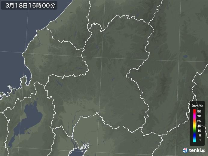 岐阜県の雨雲レーダー(2020年03月18日)