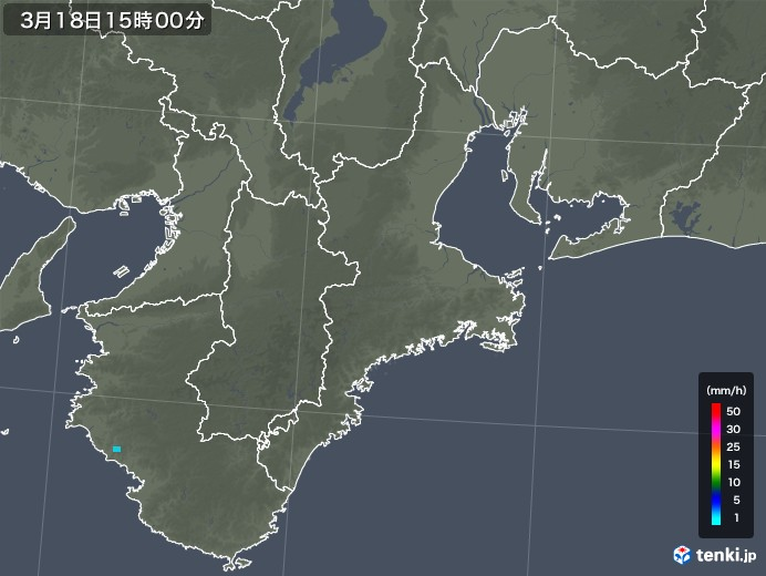 三重県の雨雲レーダー(2020年03月18日)