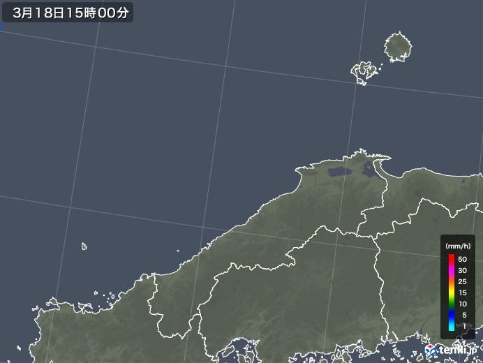 島根県の雨雲レーダー(2020年03月18日)