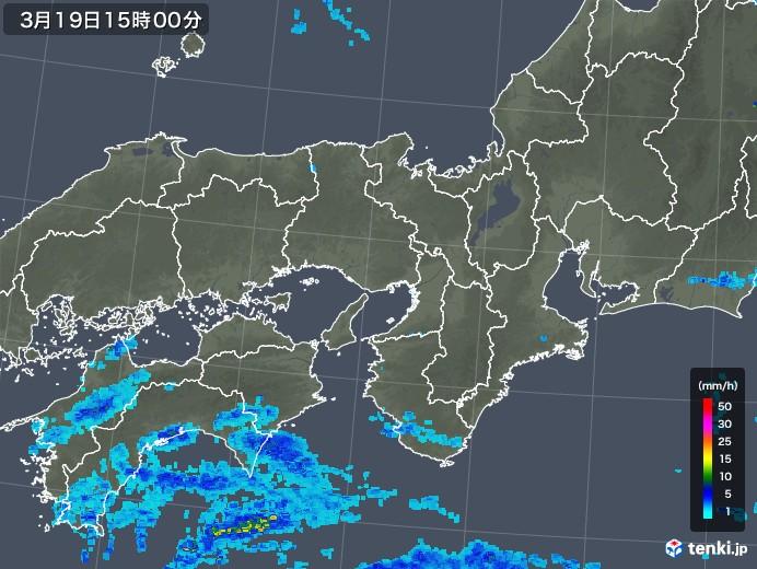近畿地方の雨雲レーダー(2020年03月19日)