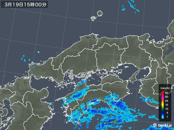 中国地方の雨雲レーダー(2020年03月19日)
