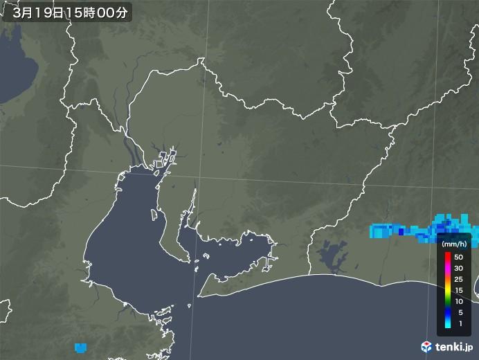 愛知県の雨雲レーダー(2020年03月19日)