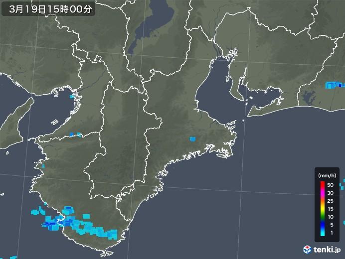 三重県の雨雲レーダー(2020年03月19日)