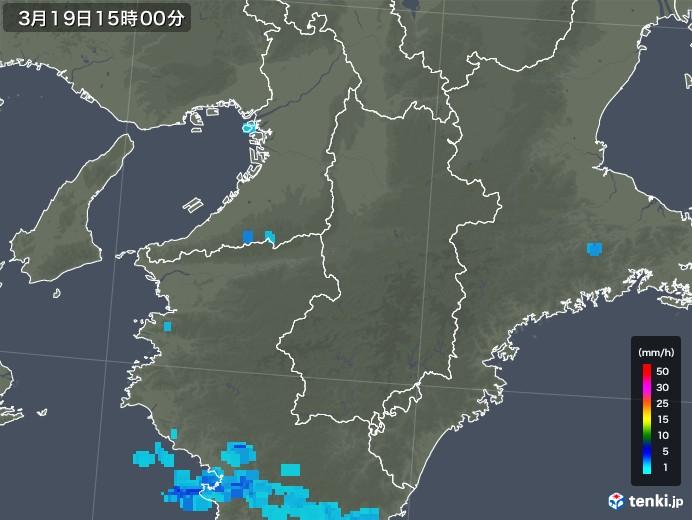 奈良県の雨雲レーダー(2020年03月19日)