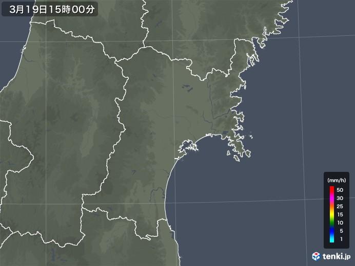 宮城県の雨雲レーダー(2020年03月19日)