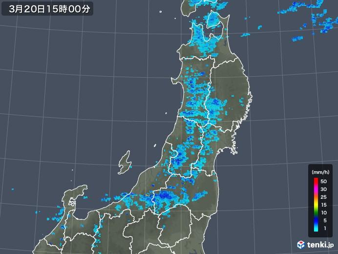 東北地方の雨雲レーダー(2020年03月20日)