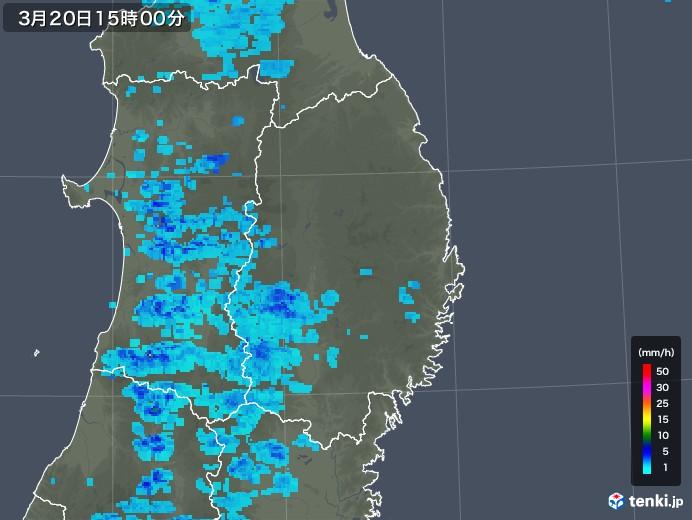 岩手県の雨雲レーダー(2020年03月20日)
