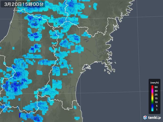 宮城県の雨雲レーダー(2020年03月20日)