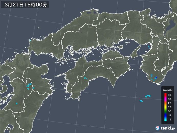 四国地方の雨雲レーダー(2020年03月21日)