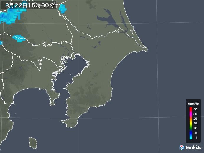 千葉県の雨雲レーダー(2020年03月22日)