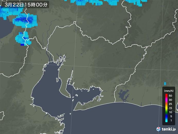 愛知県の雨雲レーダー(2020年03月22日)