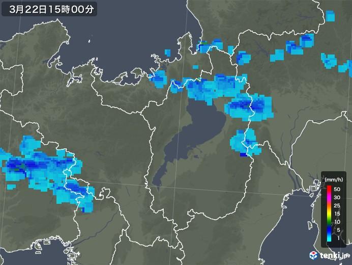 滋賀県の雨雲レーダー(2020年03月22日)