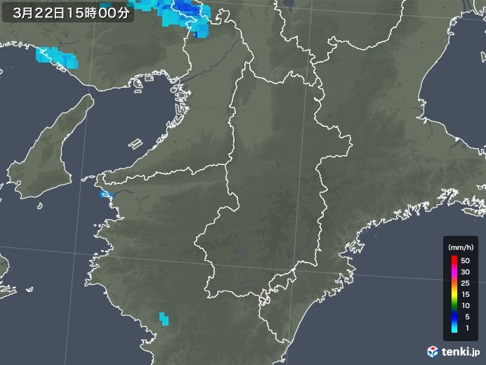 奈良県の雨雲レーダー(2020年03月22日)