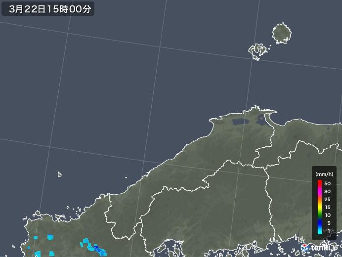島根県の雨雲レーダー(2020年03月22日)