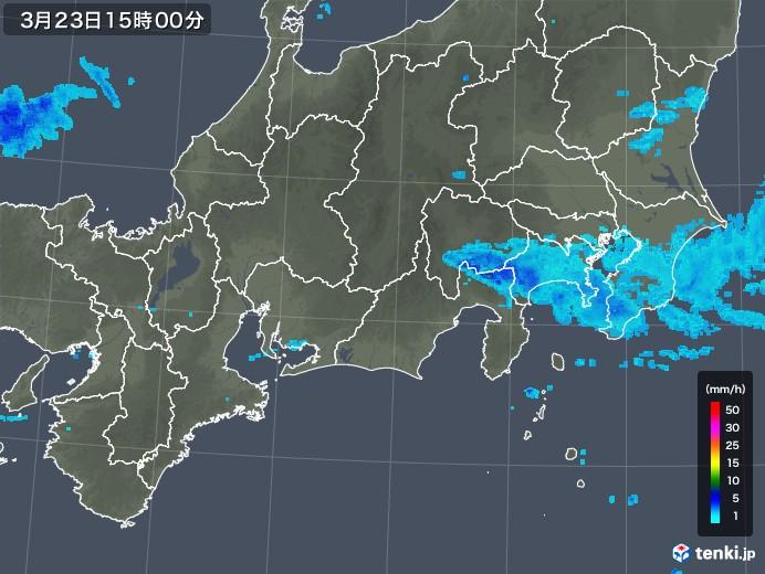 東海地方の雨雲レーダー(2020年03月23日)