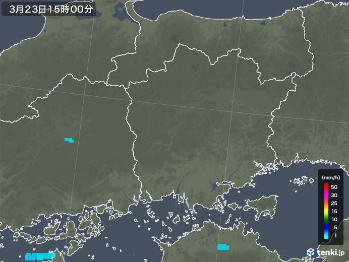 岡山県の雨雲レーダー(2020年03月23日)