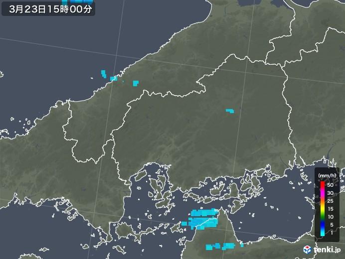 広島県の雨雲レーダー(2020年03月23日)