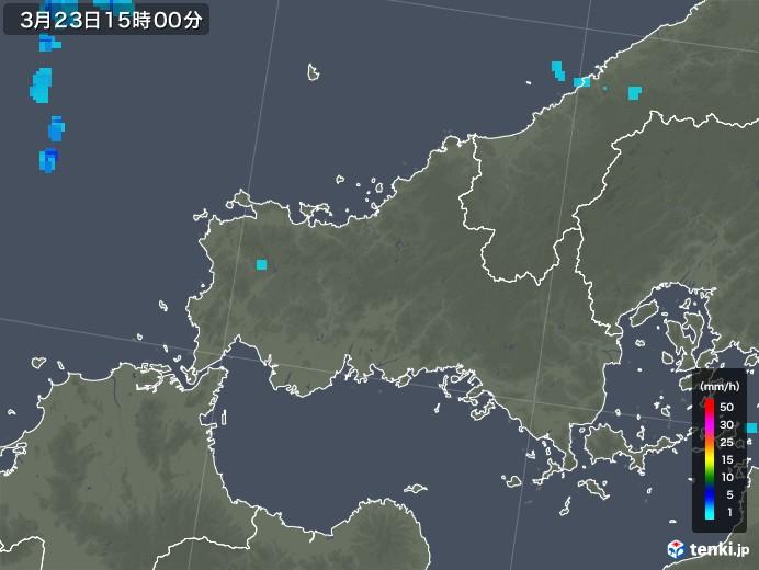 山口県の雨雲レーダー(2020年03月23日)